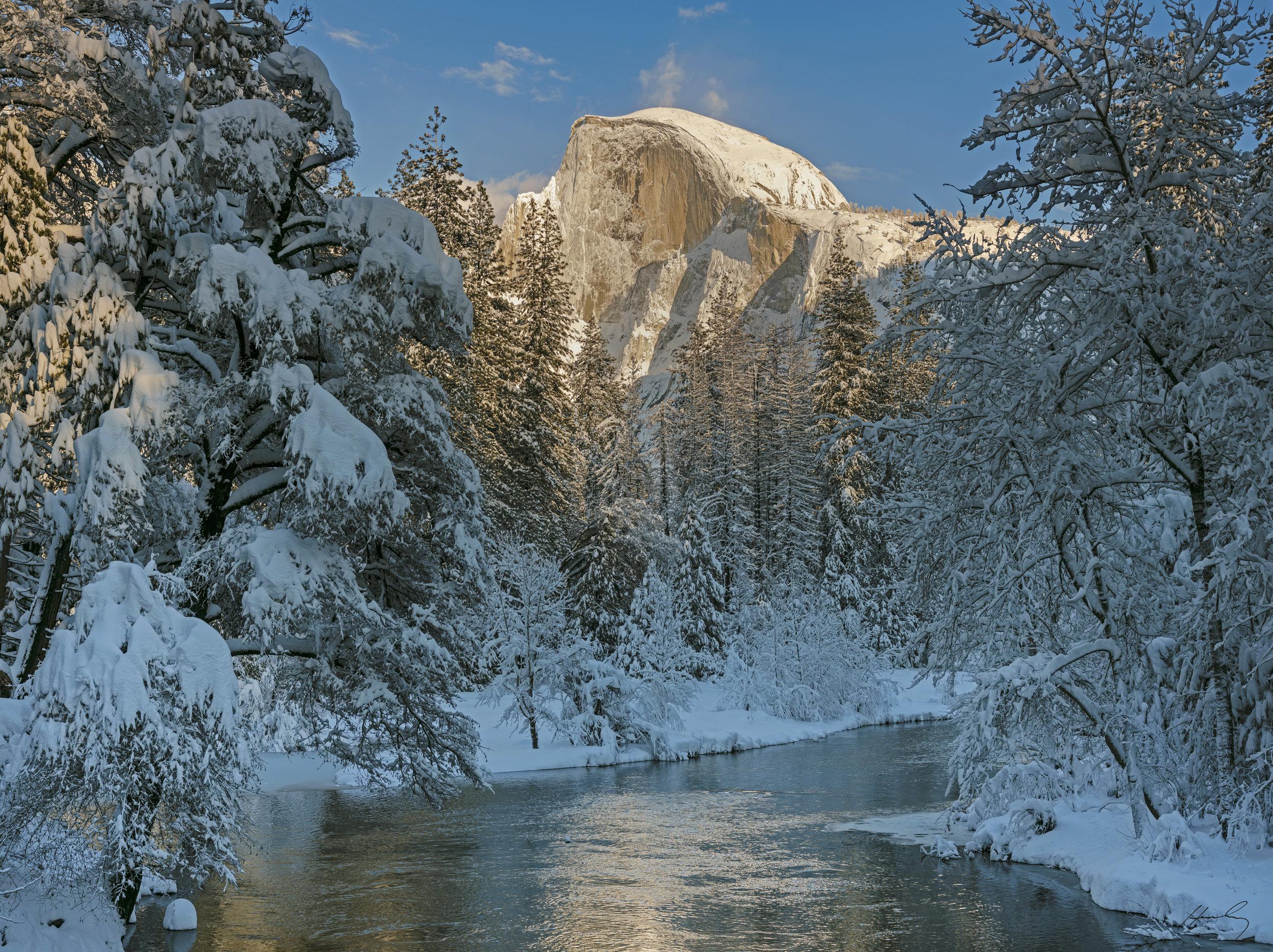 """Half Dome from Merced River-pm""  Yosemite N.P, California"