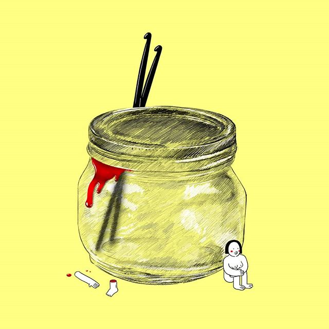 Style test for a new film that I'm gonna start pre-production on soon.  #film #animation #2d #color #art #pencil #artistofinstagram #crochet #jar #yellow #red #blood #shortfilm
