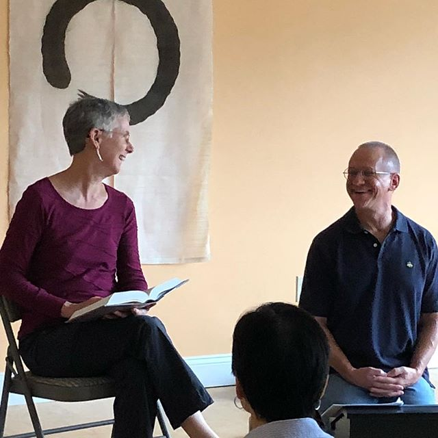 "Catherine Brousseau and Carl Skooglund this morning just before the first in their 6-class series entitled ""Treasure Hunt: Mining the Early Buddhist Texts."" They offered a brief, clear history of the Pali Canon, and several of the earliest teachings in several translations so we could begin to get the hang of how and what the Buddha actually taught, and how we can explore the teachings today. We can't express how splendid this was!!! And practical, and inspiring... The next class is 9/22 from 10:30am to noon. Drop-in, Dana-based. All are welcome! #buddha #dharma #sangha #gratitude 💛🙏🏼"