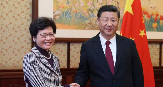 Hong Kong Chief Executive Carrie Lam with Chinese President Xi Jinping