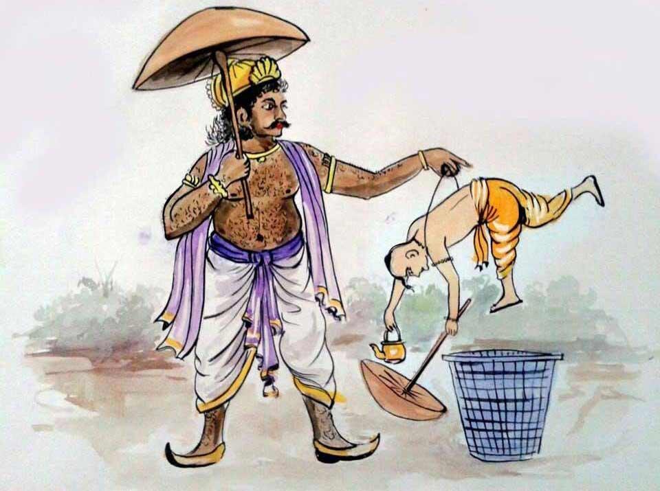 Cheeky cartoon depicting Mahabali throwing Vamana in the trash
