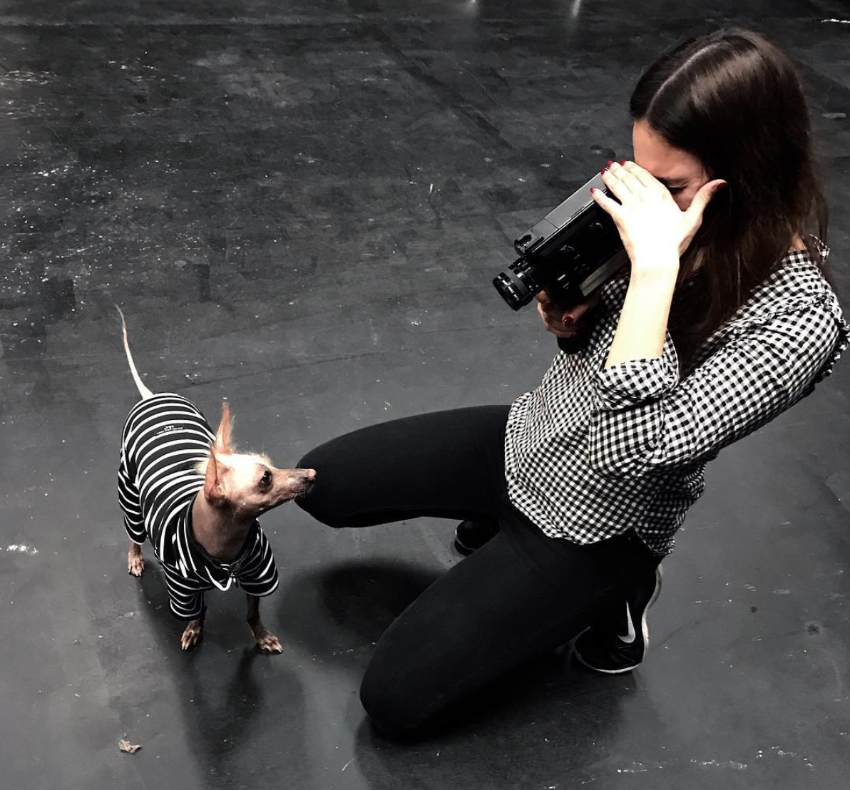 Laura Munoz (ASoF student) with Super 8 camera ft. Momia the dog