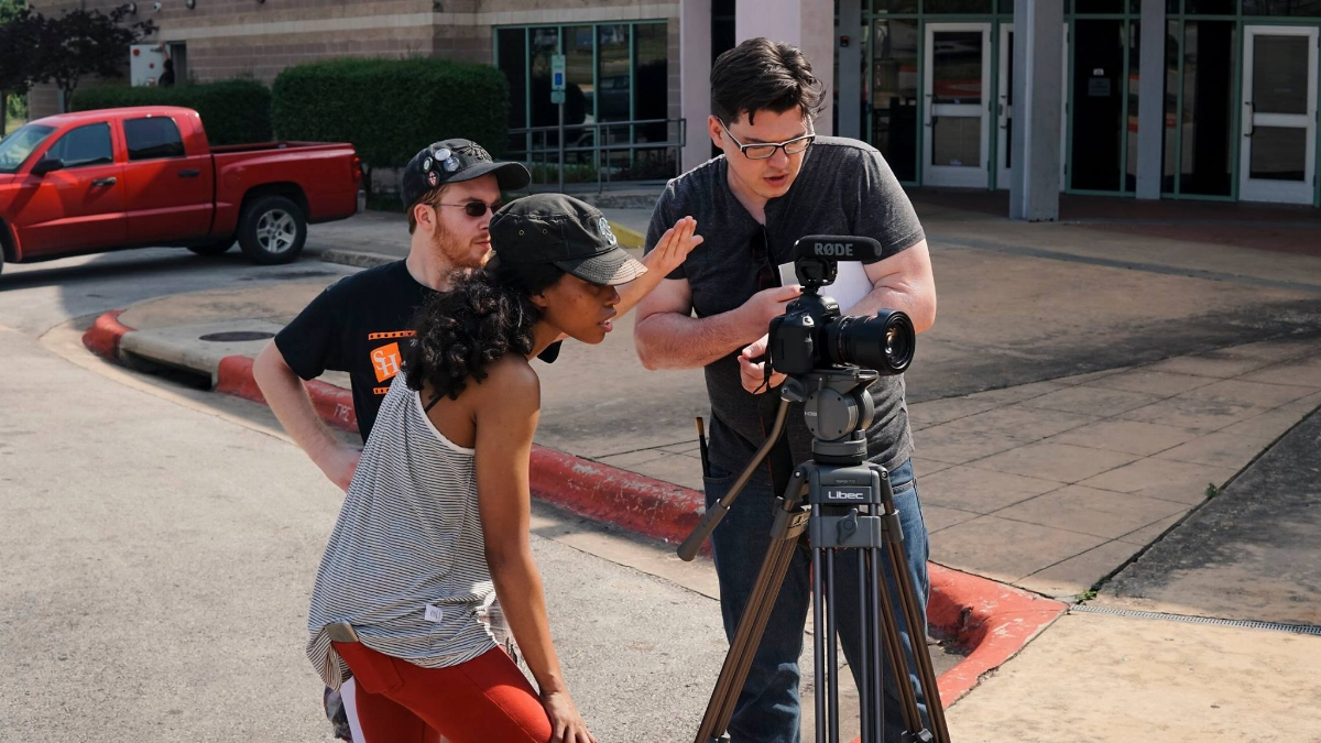 Joel (right) on the set of  Wizard of Truth with ACS member Tyra Clark (left)