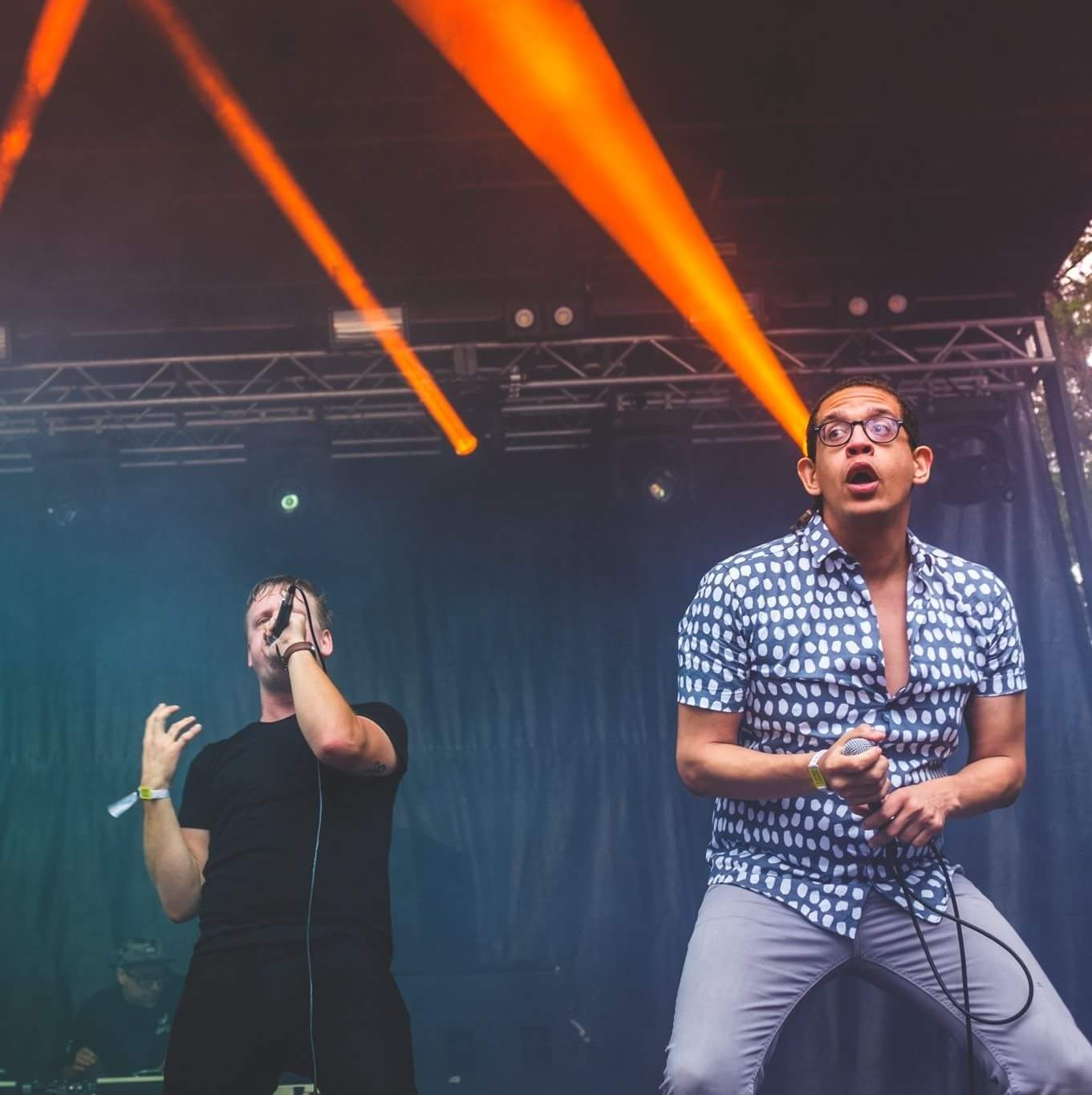 Ryan (right) performing on stage at Sound On Sound festival