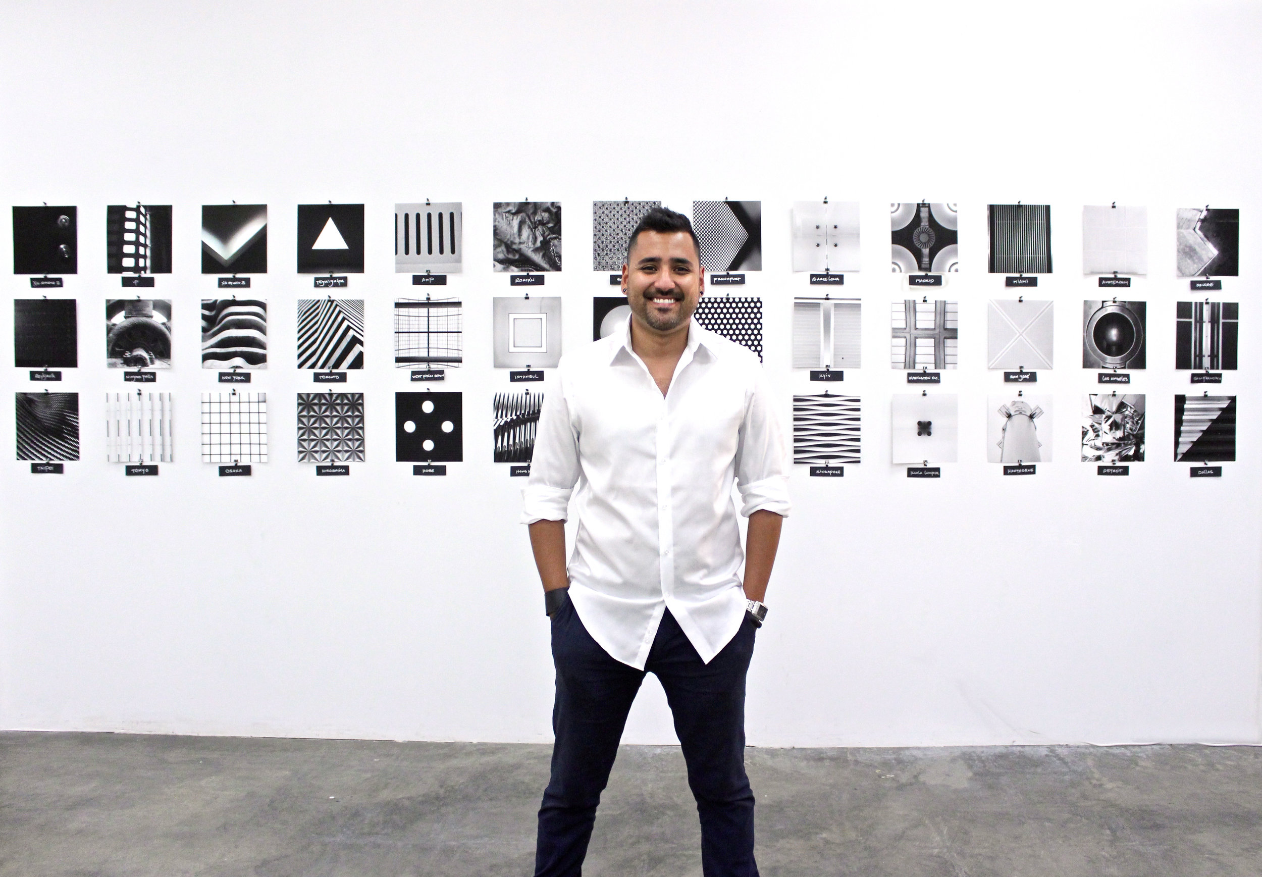 Carlos at opening night of his exhibition at Motion Media Arts Center