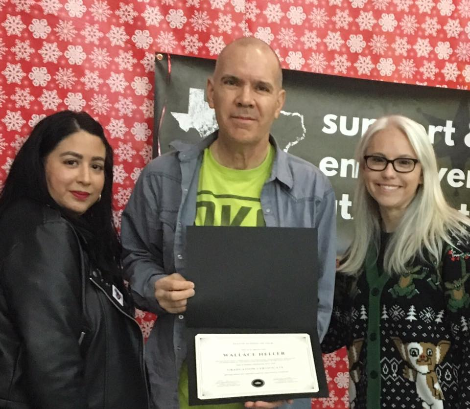 Faiza and fellow Director Carrie with certificate student Wallace, December 2017