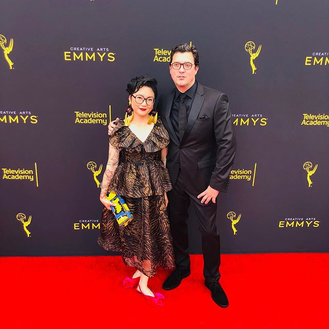 Can we just have a moment of silence for this incredible outfit @wsanchia wore to the #creativeemmys 🙌 Congratulations to you and your team!! • • ➡️➡️ for some BTS and the cutest guest star 🐰 check out #3 • • Hair&Makeup by #veronicavargashmu