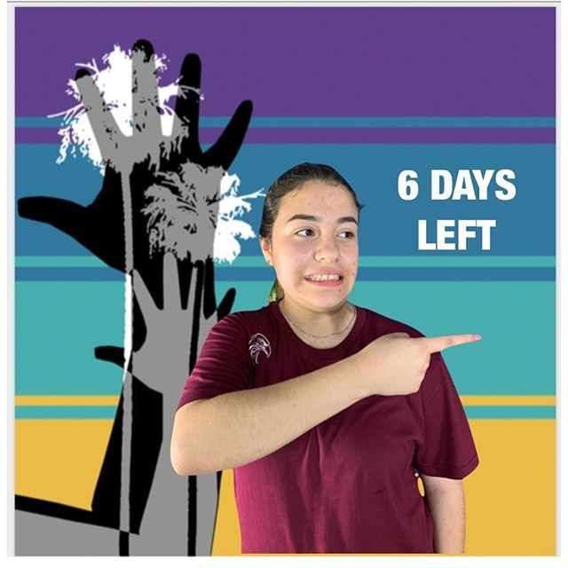 """6 days left to the ASLTA Conference 2019!  Visual Description: A medium-toned girl pointing at """"6 Days Left"""" in front of a background of two human hands with two palm trees printed together on top of four stripes of different colors: purple, darker teal, lighter teal, and mustard yellow."""