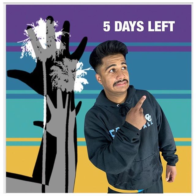"""5 days left to the ASLTA Conference 2019!  Visual Description: A medium-toned boy pointing at """"5 Days Left"""" in front of a background of two human hands with two palm trees printed together on top of four stripes of different colors: purple, darker teal, lighter teal, and mustard yellow."""