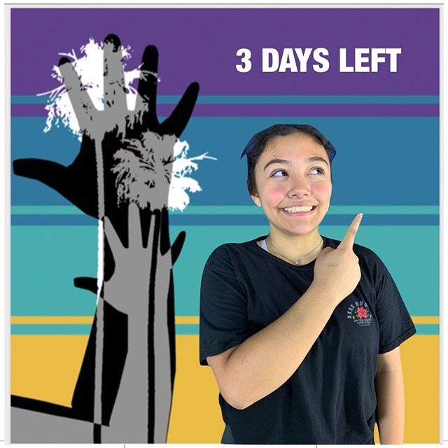 "3 days left to the ASLTA Conference 2019!  Visual Description: A medium-toned girl pointing at ""3 Days Left"" in front of a background of two human hands with two palm trees printed together on top of four stripes of different colors: purple, darker teal, lighter teal, and mustard yellow."
