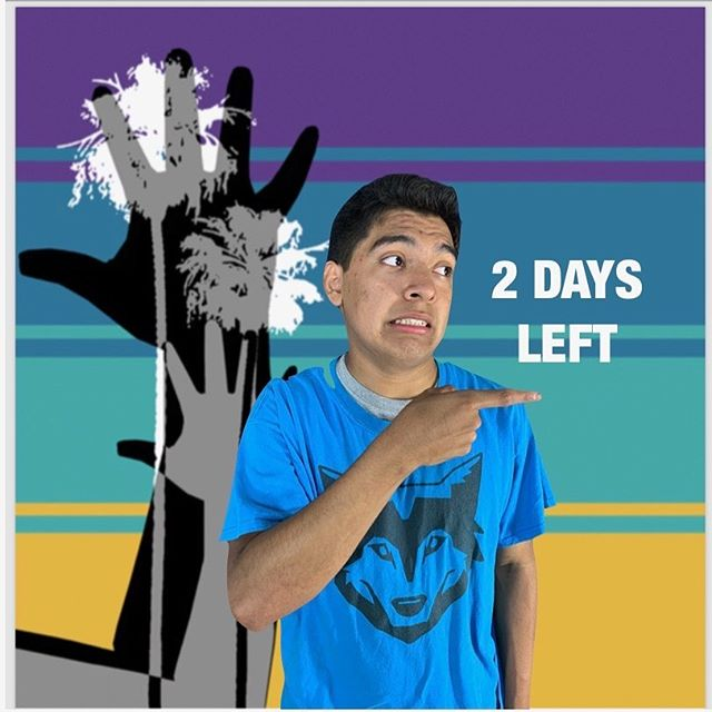"2 days left to the ASLTA Conference 2019!  Visual Description: A medium-toned boy pointing at ""2 Days Left"" in front of a background of two human hands with two palm trees printed together on top of four stripes of different colors: purple, darker teal, lighter teal, and mustard yellow."