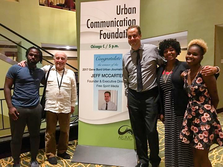 FSM participants and staff with Gary Gumpert, president of Urban Communication Foundation. Left to right: Michael Key Jr., Gary Gumpert, Jeff McCarter, KeOne Dixon, Corlicia Tolliver