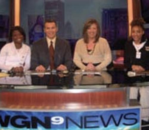 FSM students Bianca Bryant and Helen Block meet WGN Morning News anchors Larry Potash and Robin Baumgarten.