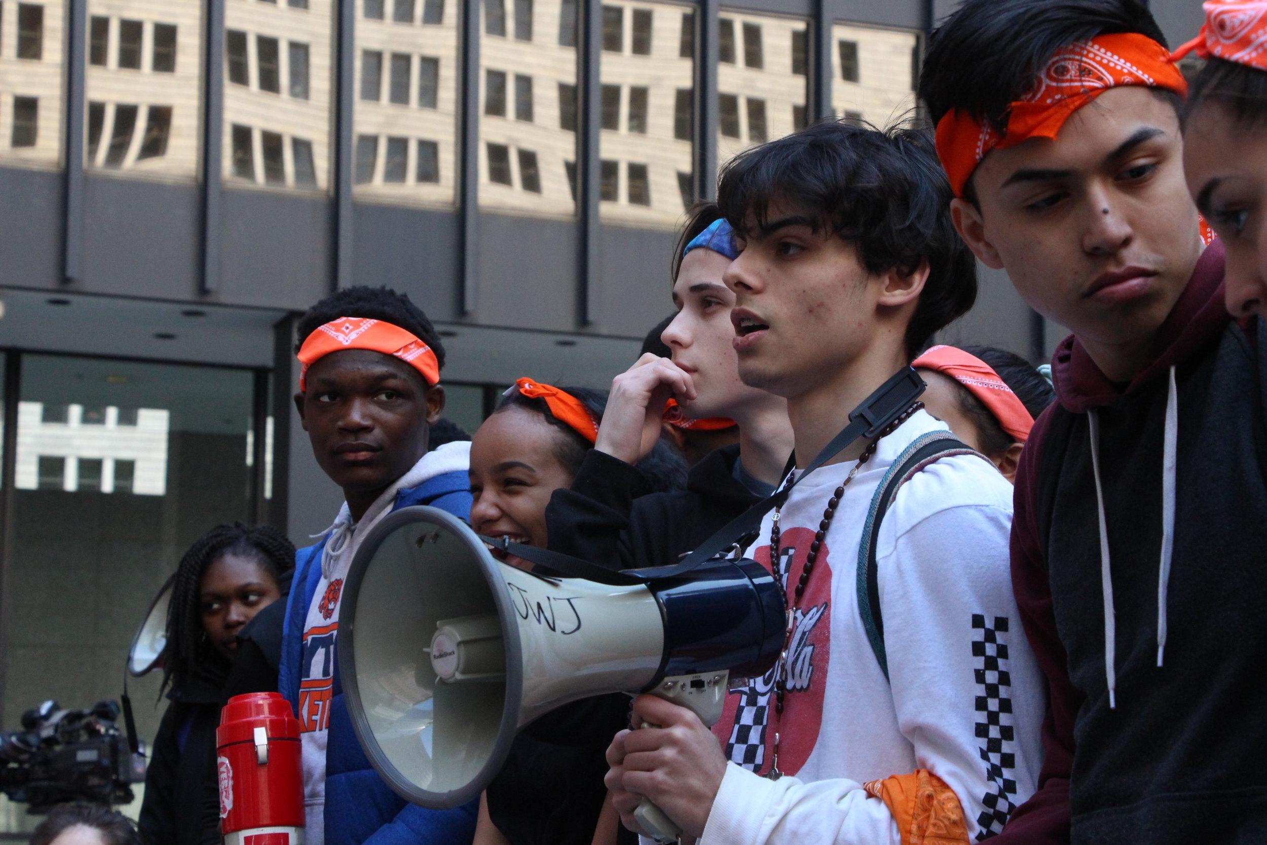 Other members of Chicago Student Walkout: Richard Alvarez (Walter Payton College Prep) , Gage Gerding, Esther O'Leary (Walter Payton College Prep), and Grace Conrad.