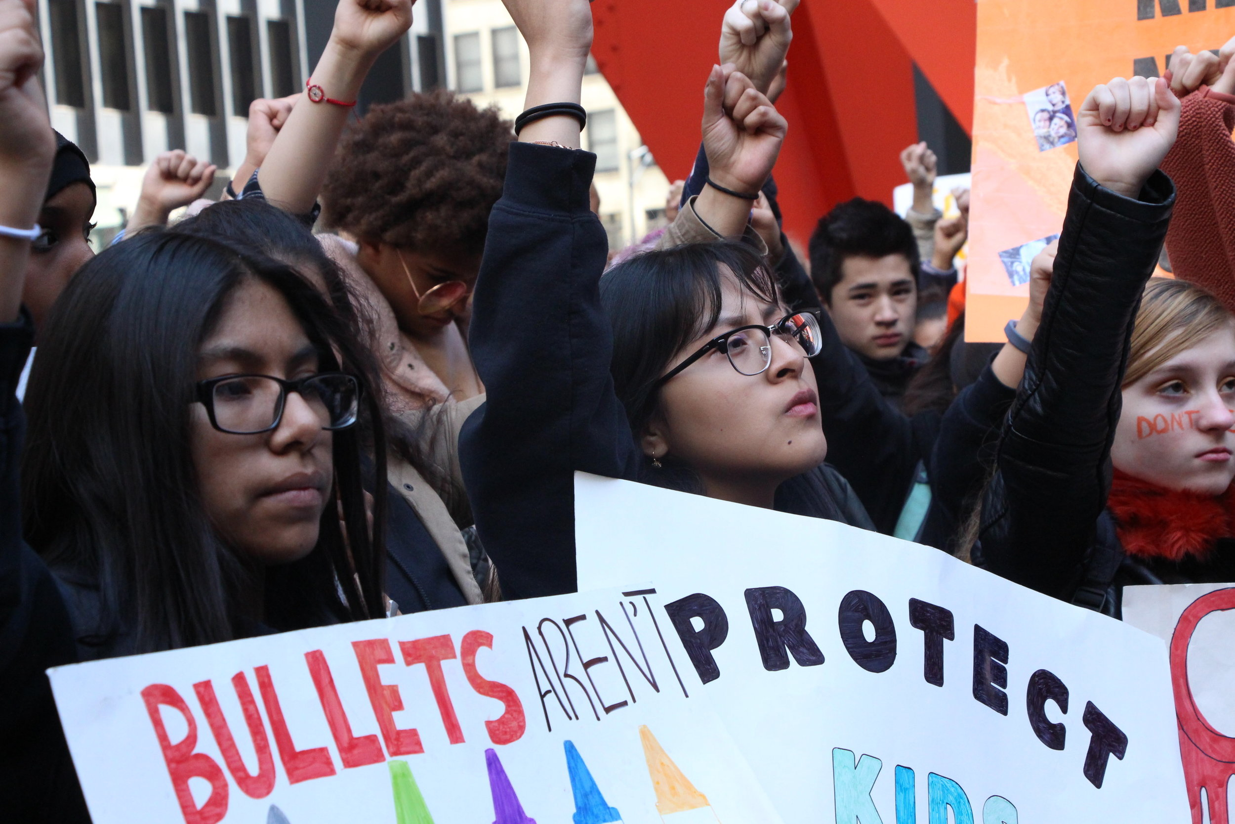 """Jesenia Pulgarin (Von Steuben Metropolitan HS): """"The reason that I decided to come out here is because of the injustice and many innocent lives being lost because of guns. Our school principle was very supportive of this."""""""