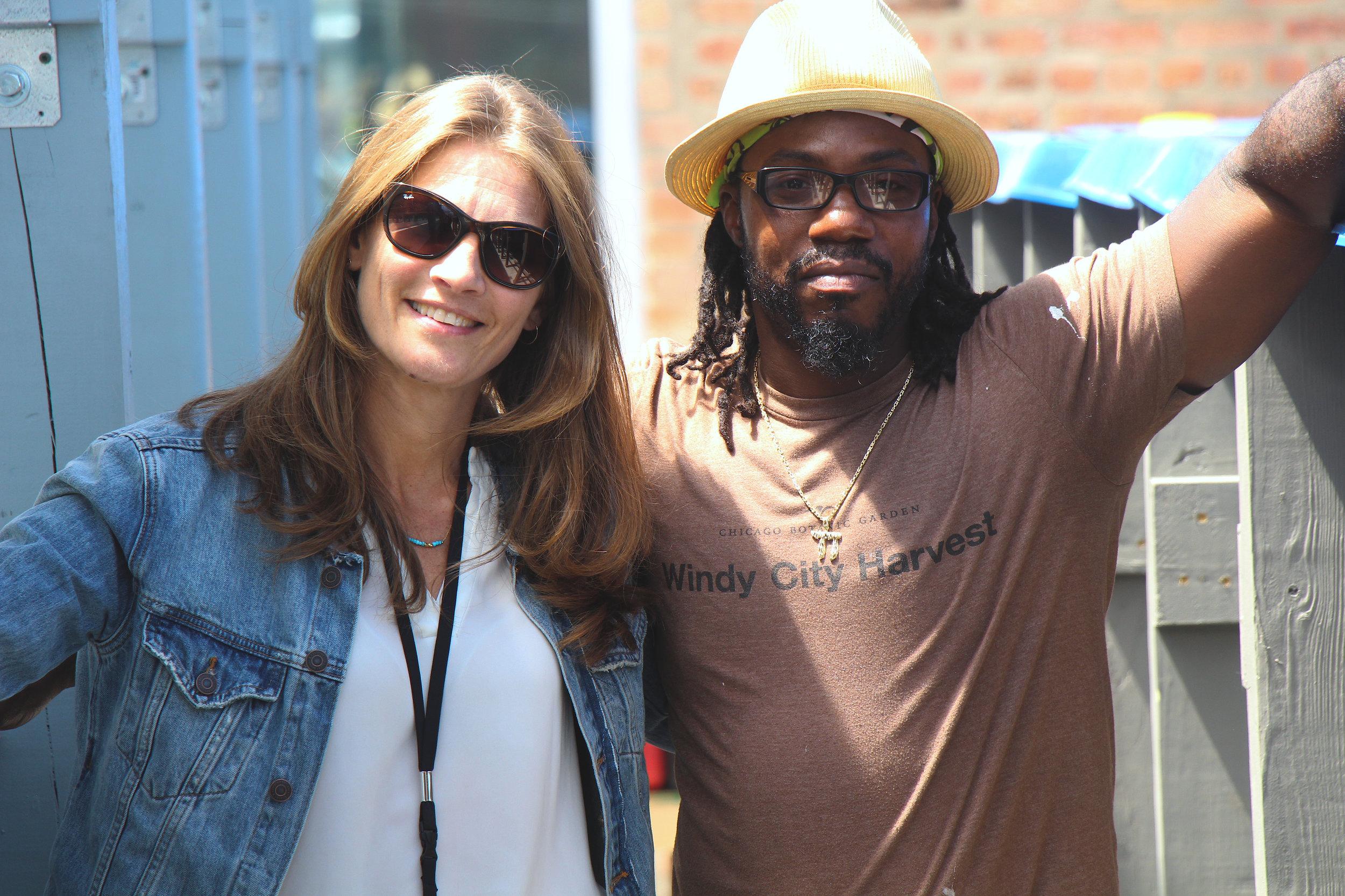Urban Farms Youth Director Eliza Fournier(Left) with Dawvid Chayim(right)