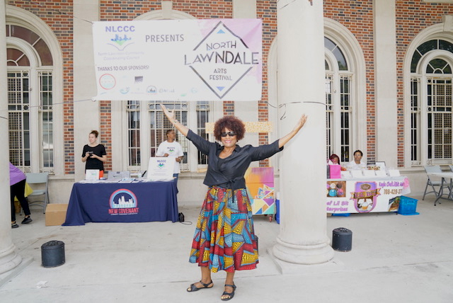Sheila McNary, head of the North Lawndale Community Coordinating Council's Arts and Culture subcommittee, poses for a photo at last year's North Lawndale Arts and Culture Festival held in Douglas Park.