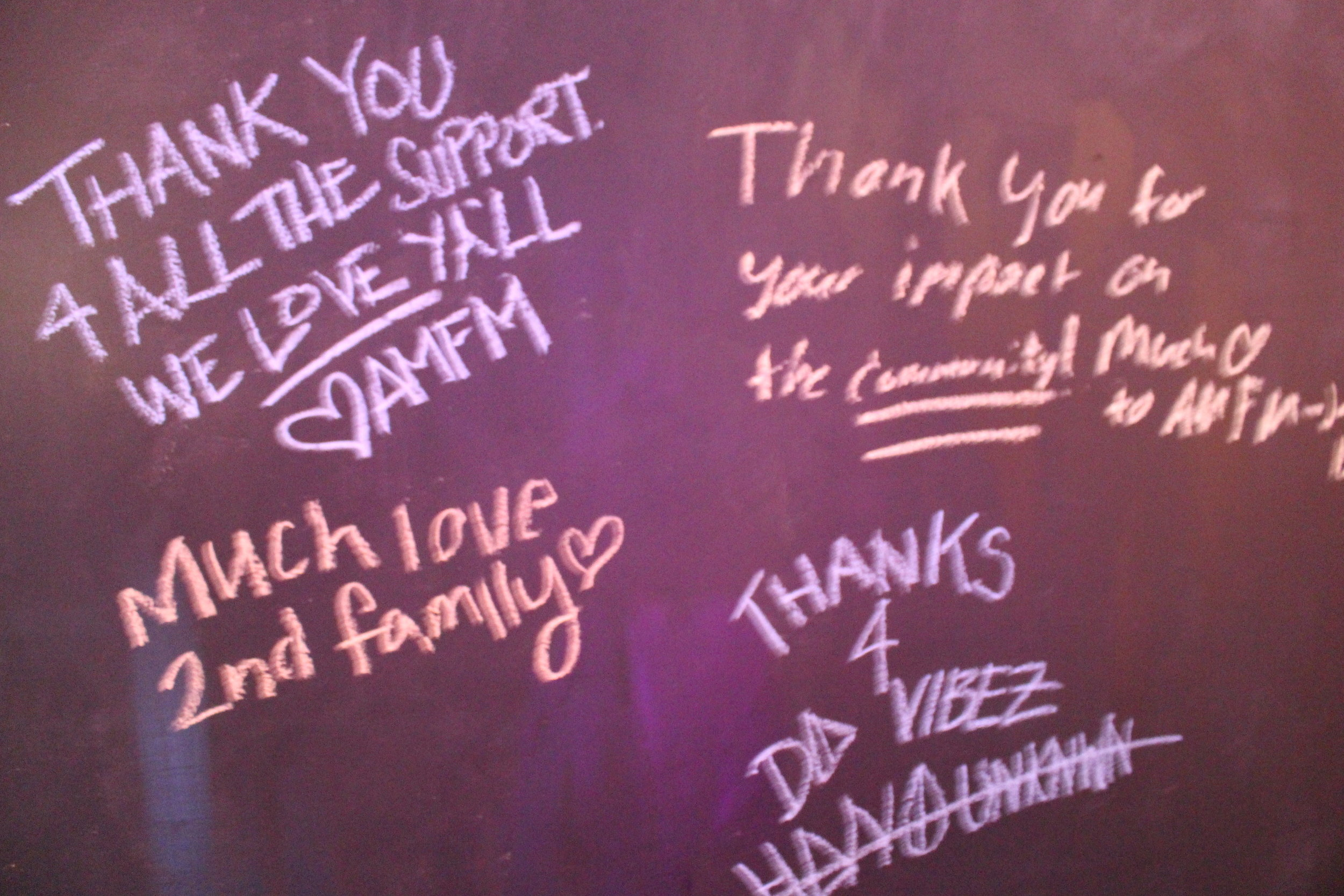Partygoers left messages of support for AMFM