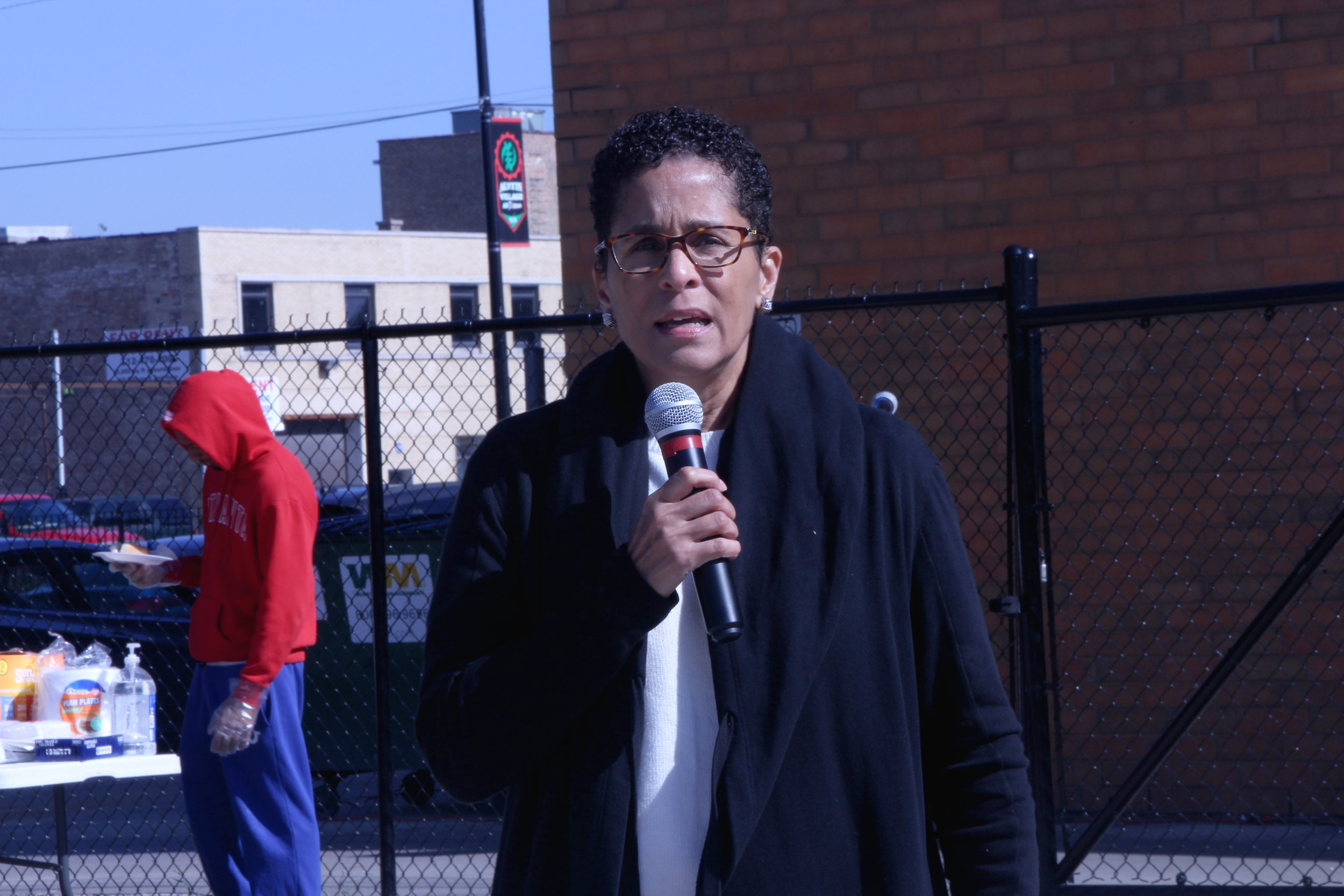 """Commissioner Lisa Morrison-Butler of the Department of Family and Support Services spoke about the importance of community members understanding their rights. """"We are often over policed and under-resourced when it comes to understanding our rights and being able to navigate that mind field when engaging with the police,"""" she said."""