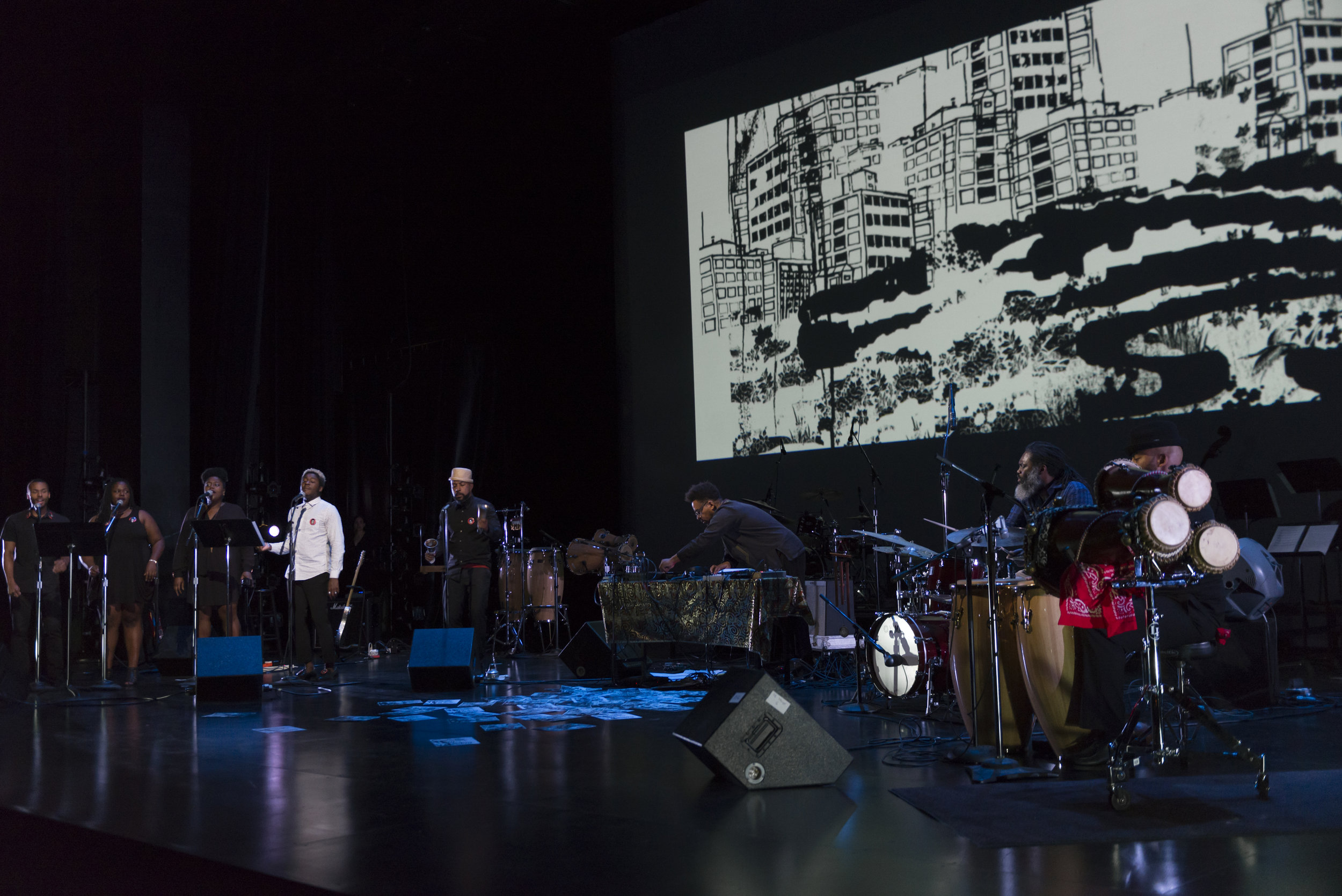 Damon Locks (center) at the helm of the Black Monument Ensemble during their performance at the Museum of Contemporary Art  Credit: Nathan Keay
