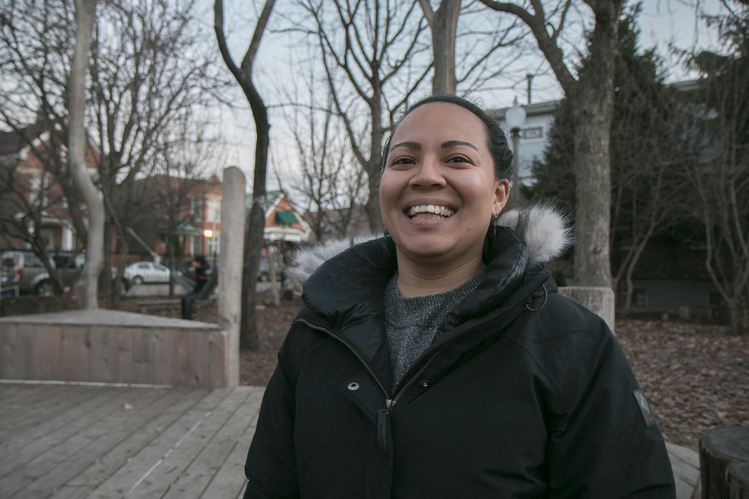 CPS Teacher Jessica Fong shows off the McKinley Community Play Garden, where she takes her PreK students twice a week.
