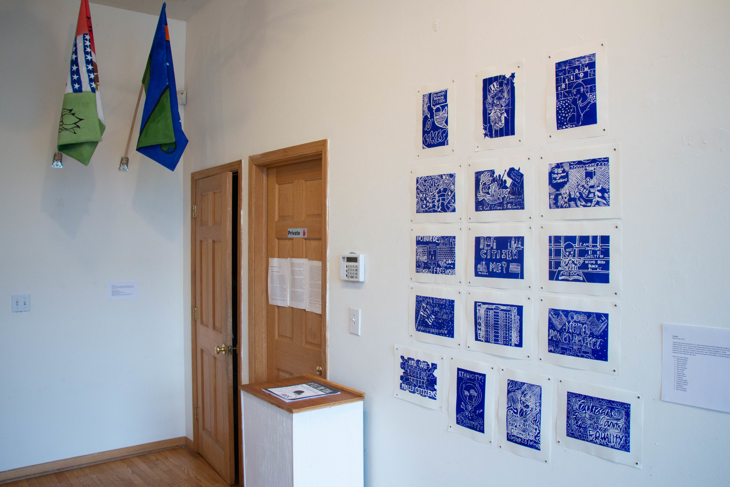 Flags and prints from PNAP classes are displayed at the Uri-Eichen Gallery.
