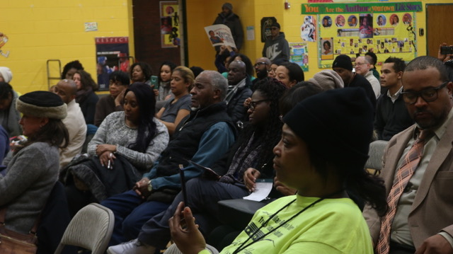 Roughly 50 community members participated in the aldermanic forum held at Jensen Scholastic Academy on Feb. 12. Photo by Maya Horton, The Real Chi.