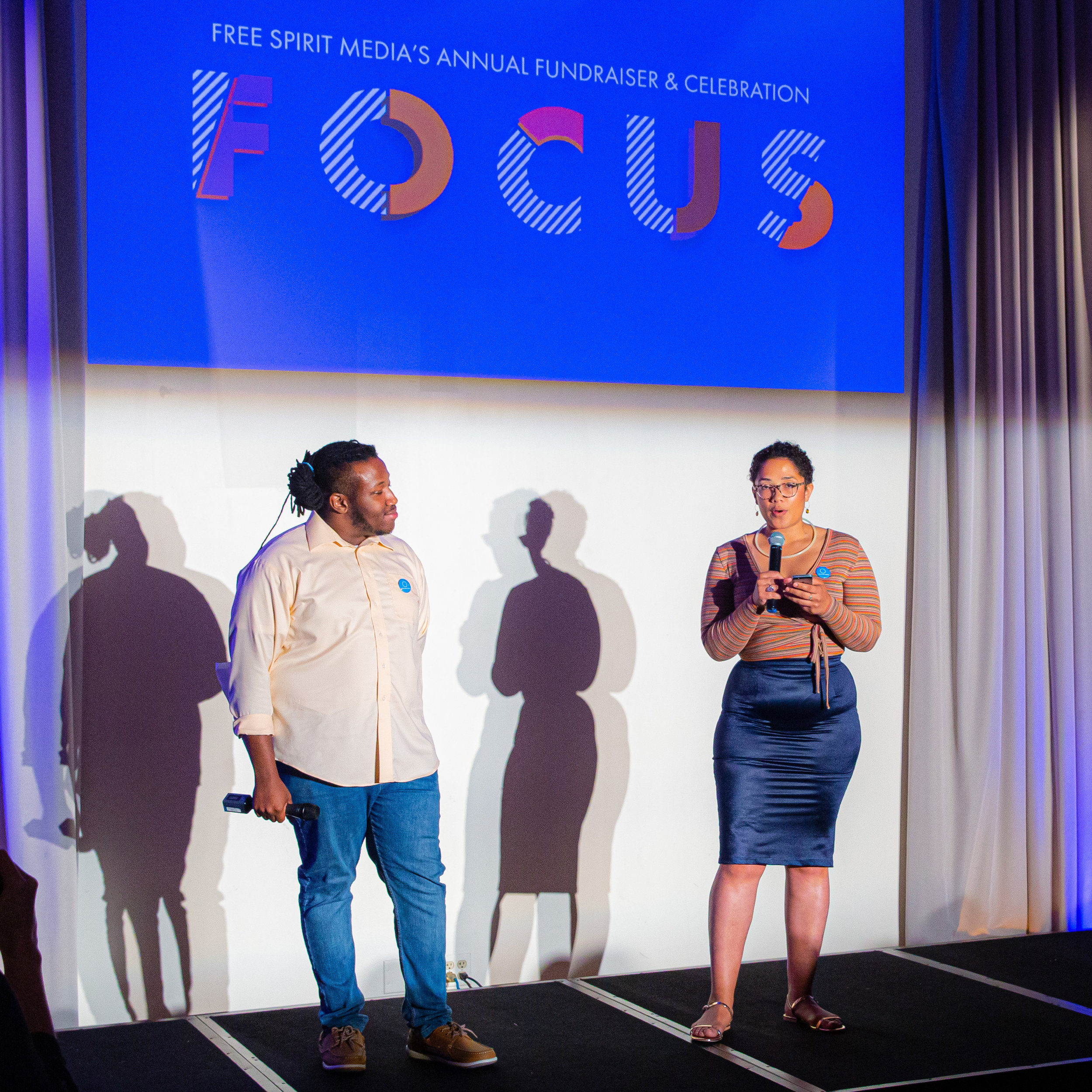 LVaughn Taylor (left) and Maya Horton (right) sharing their InPathways Cohort experiences at FOCUS