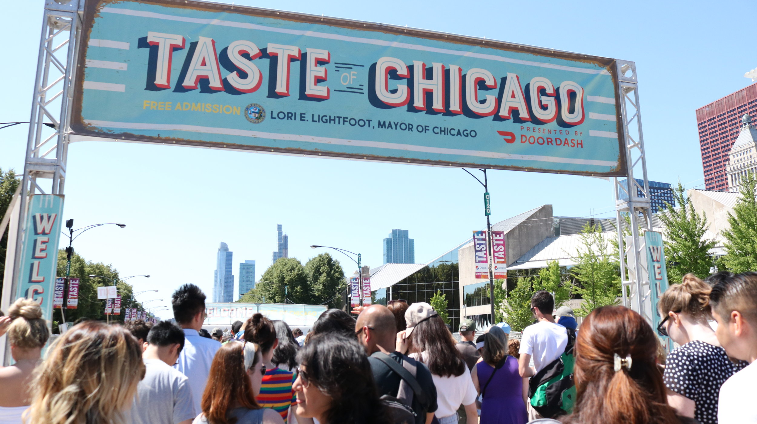 Entrance of the Taste of Chicago on Friday, June 12, 2019. The Taste of Chicago festival opened to the public while the crowd started to get in line. Photo by Estefania Navarrete