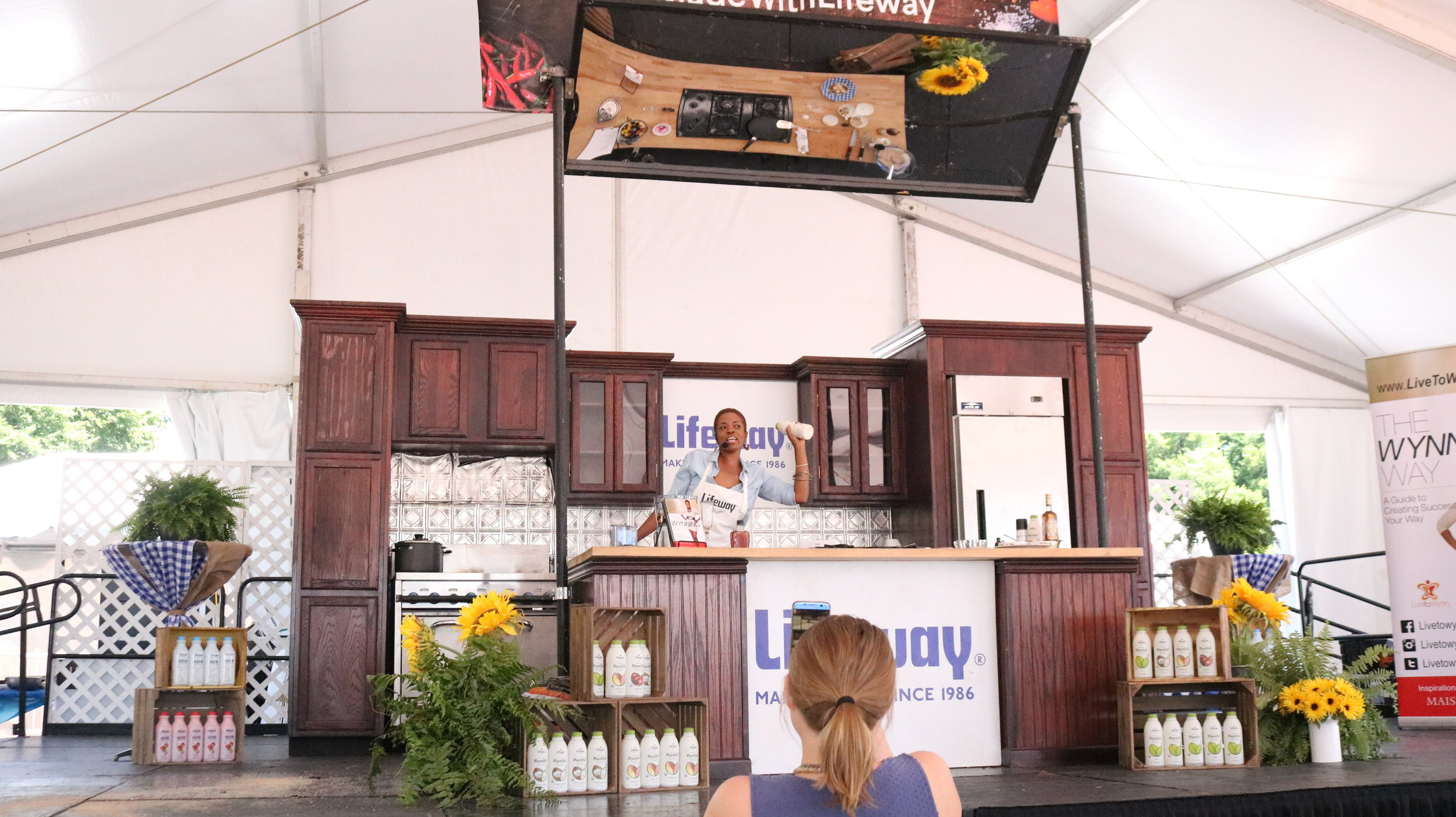 Maisha Wynn (center), lifestyle expert and author, doing a culinary vegan show with Lifeway. Introducing the Pxlantiful product to the audience on June 12, 2019 at the Taste of Chicago. Photo by Estefania Navarrete