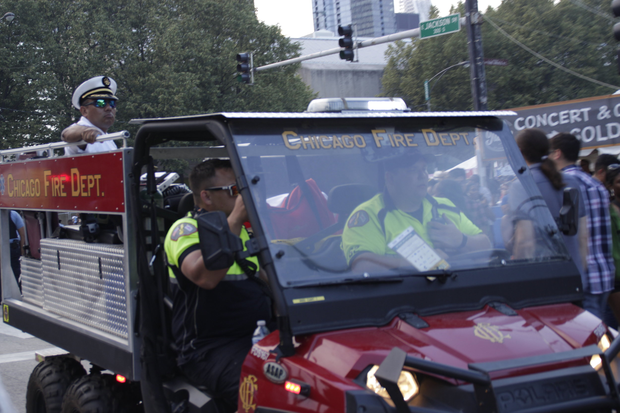 Chicago Fire Department had both foot and car patrols on site at the 2019 Taste of Chicago to assist with crowd control. Other security included Chicago Police Department, undercover police officers with vests, United Security, traffic and parking enforcement and event staff.