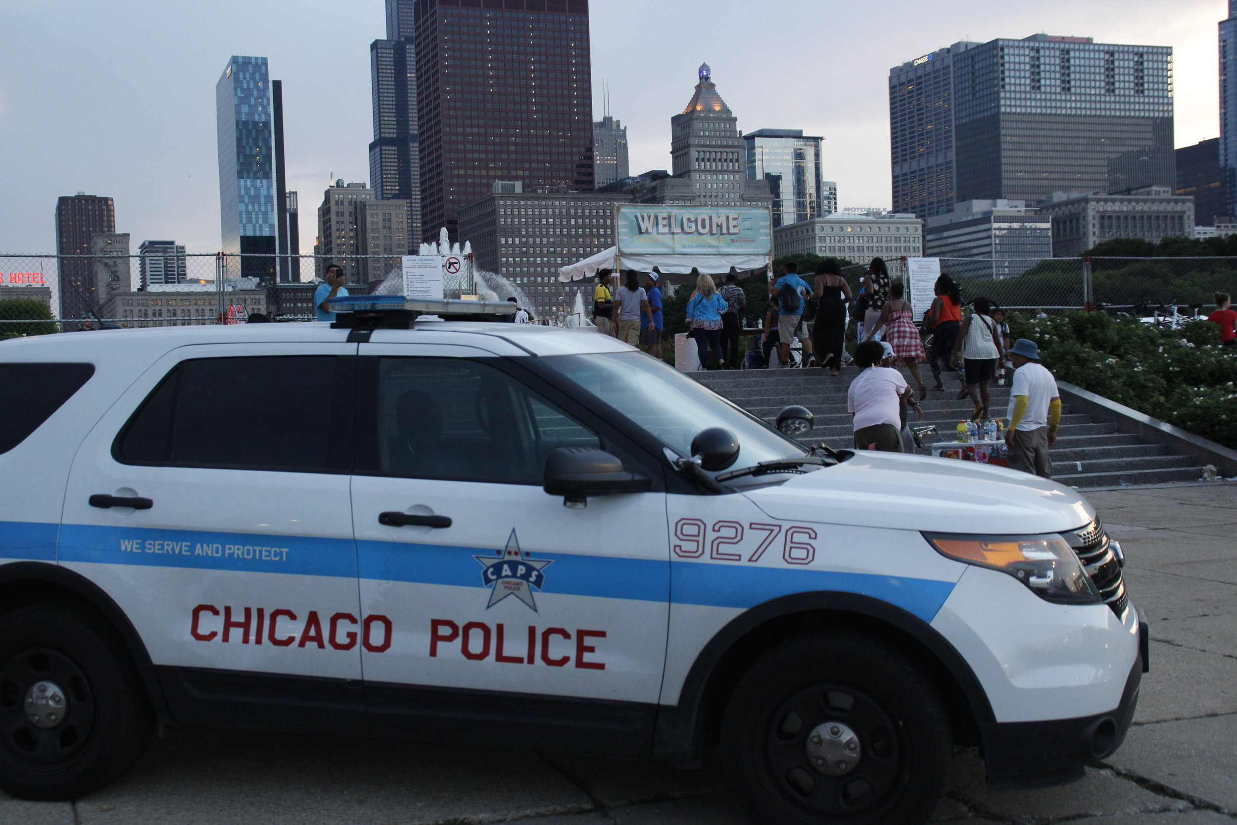 As people came and went to the 2019 Taste of Chicago, Chicago Police Department was posted outside each entrance and exit of the event. Over 100 officers were sent daily from all over the city to provide security for the Taste.