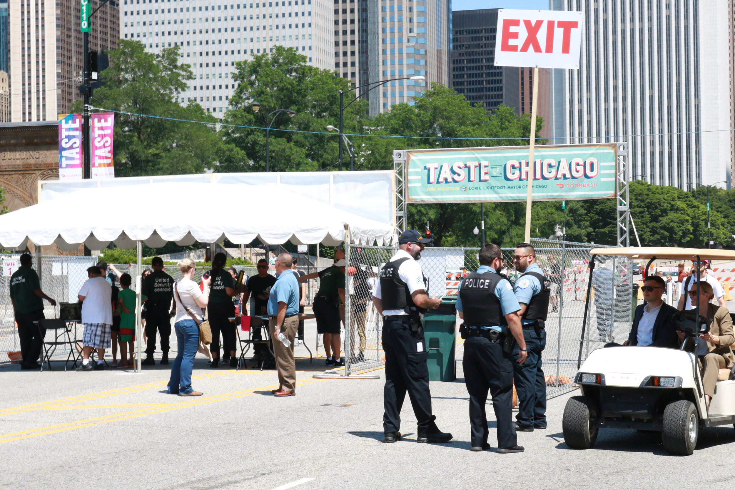 As visitors of the 2019 Taste of Chicago left the venue, people passed the two different security forces to ensure safety. Chicago Police patrolled the event while United Security conducted searches at the baggage check posted at the Taste.