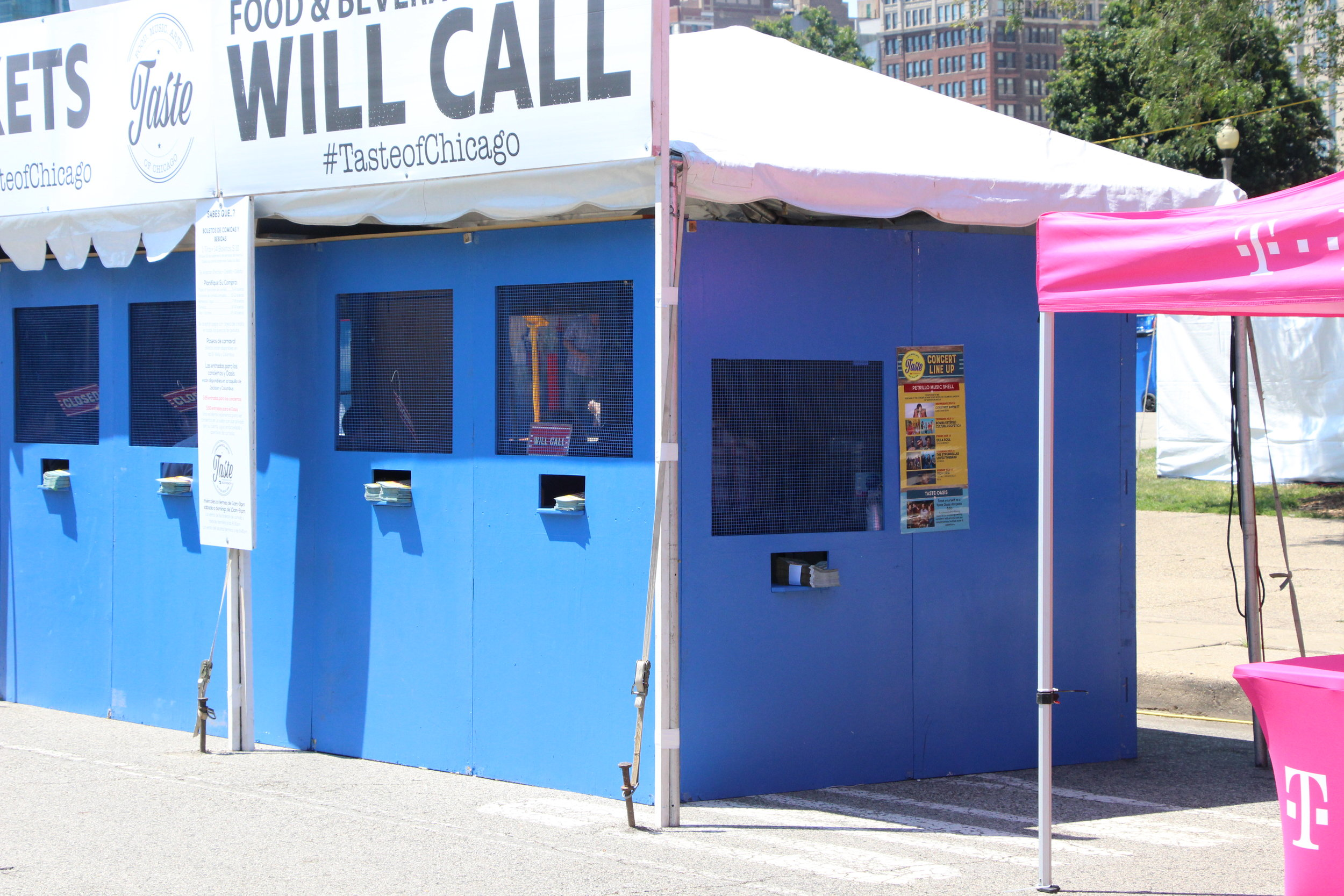 Booths like these had wheelchair accessible windows to purchase food and beverage tickets at the Taste of Chicago. Photo by Jerome Sanders