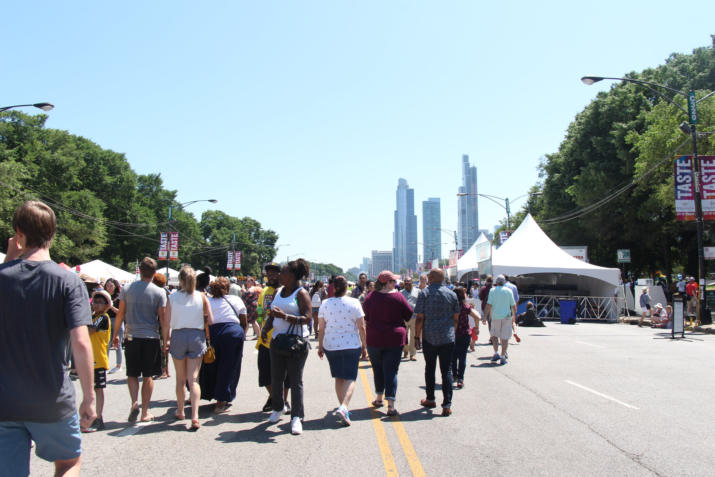 Family and friends walking through one of the largest food festivals in Chicago. Photo by Millie Johnson