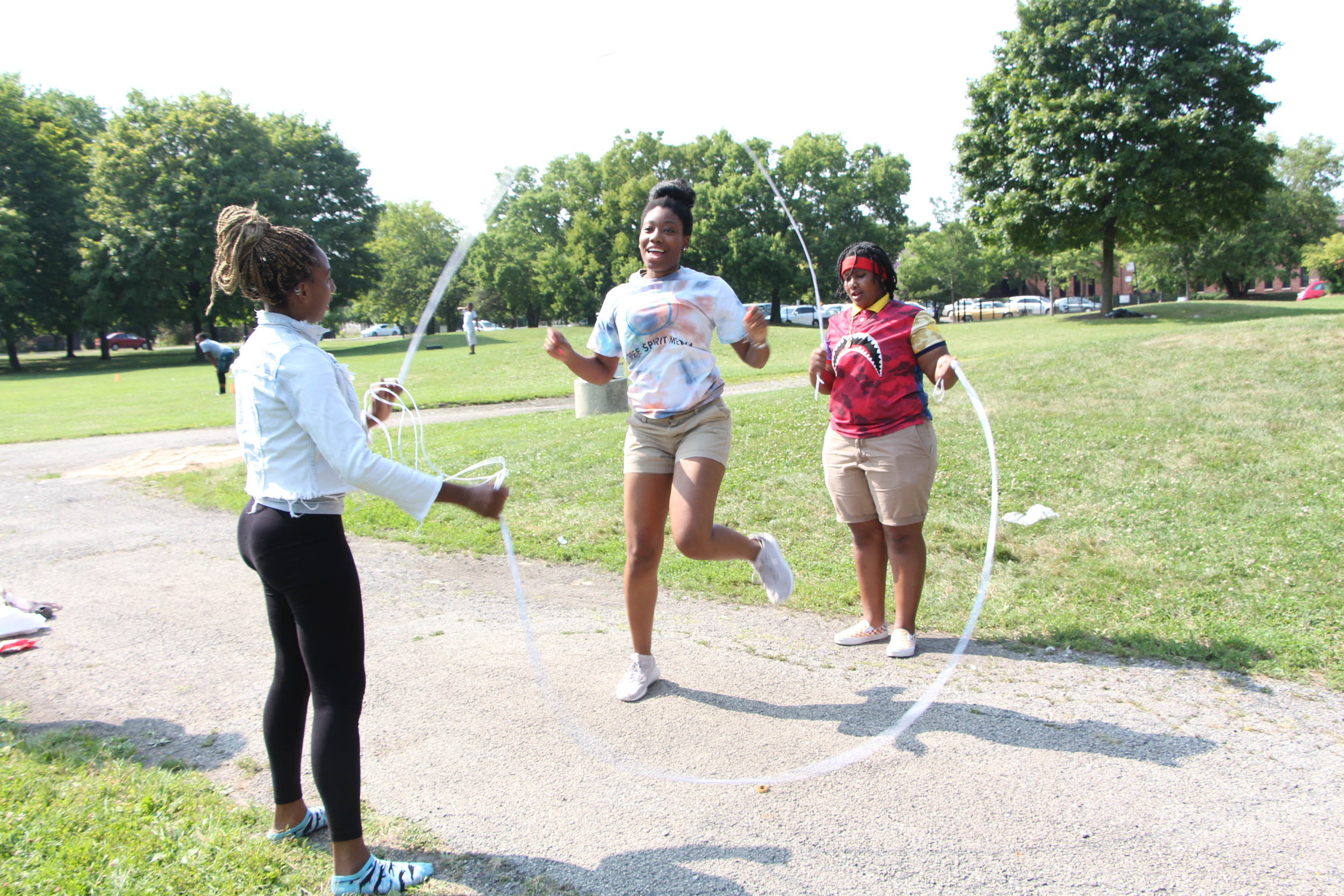 Briana Shields , Communications Coordinator, showing off her double dutch skills