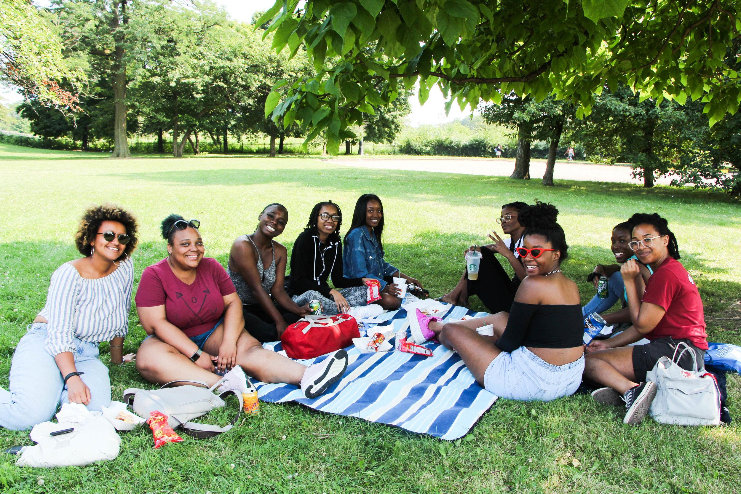 InPathways Flash Forward participants enjoy some shade at Mid-Summer Fun Fest