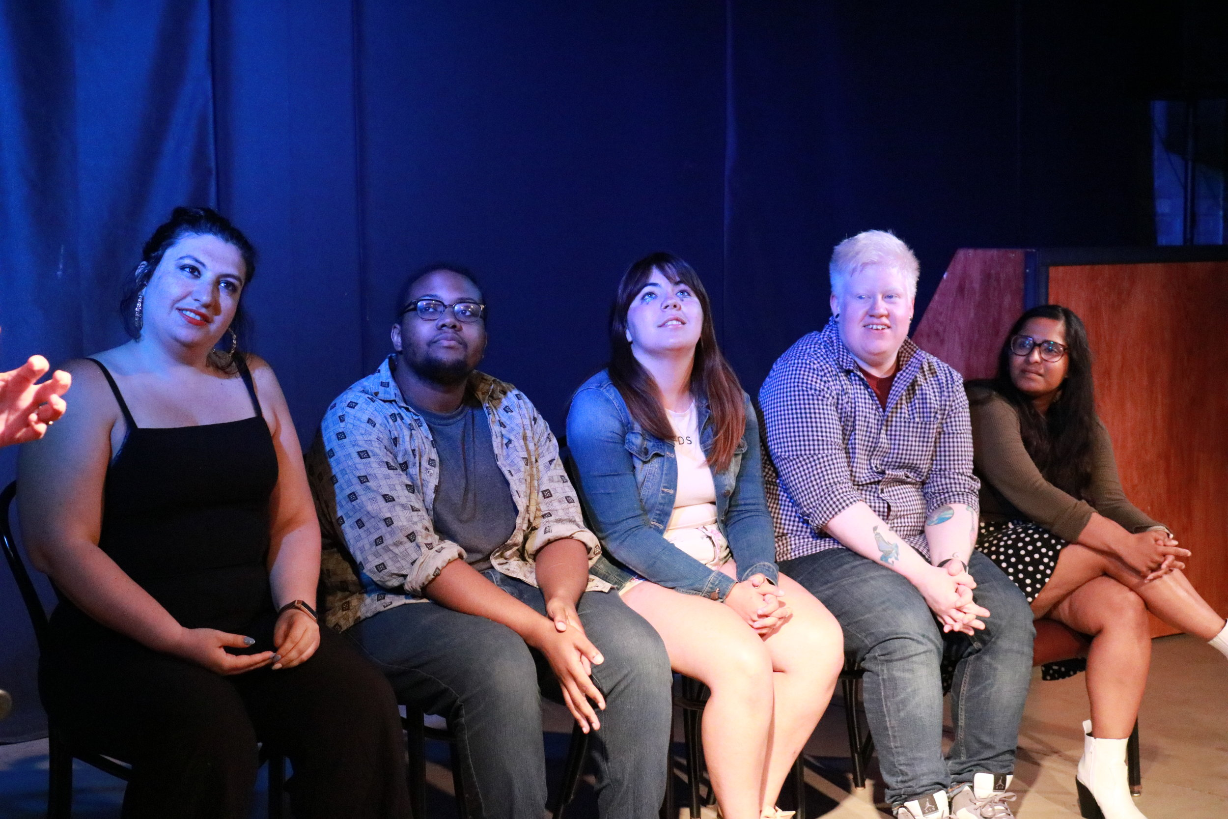 Performers from July's Who Dis variety show, including (right to left) Maria Konopken, Nick Graves, Daniella Mazzio, Simon Collier, and Med Indurti, talk about their comedy during the discussion near the end of the show. Photo by Maia McDonald