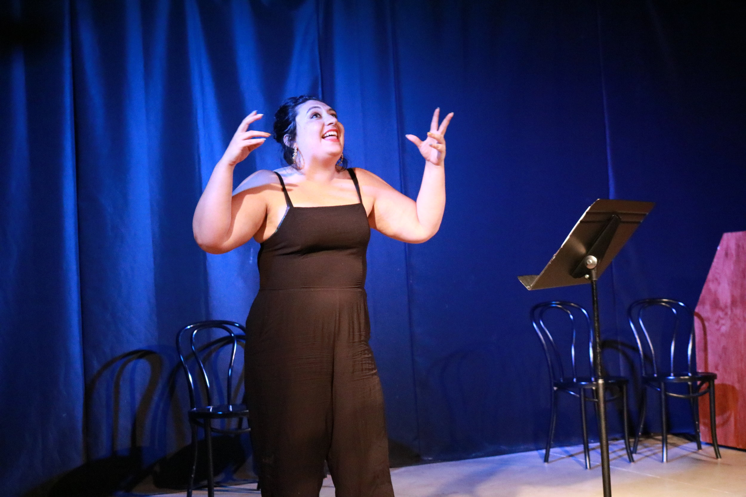Comedian and writer Maria Konopken performs a highly personal poetry piece about her struggle with mental illness and getting help. Photo by Maia McDonald