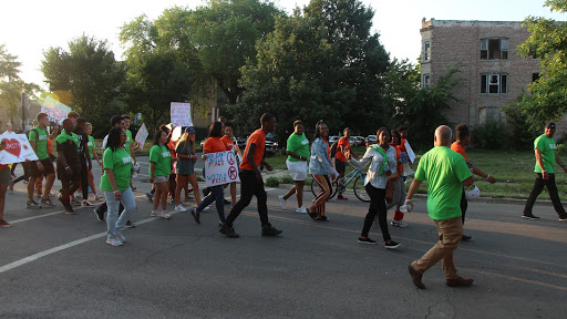 The marchers enjoying the 60632 Peace Gathering are feeling the effects of Unity and Relief. Photo by Tyrese Pough