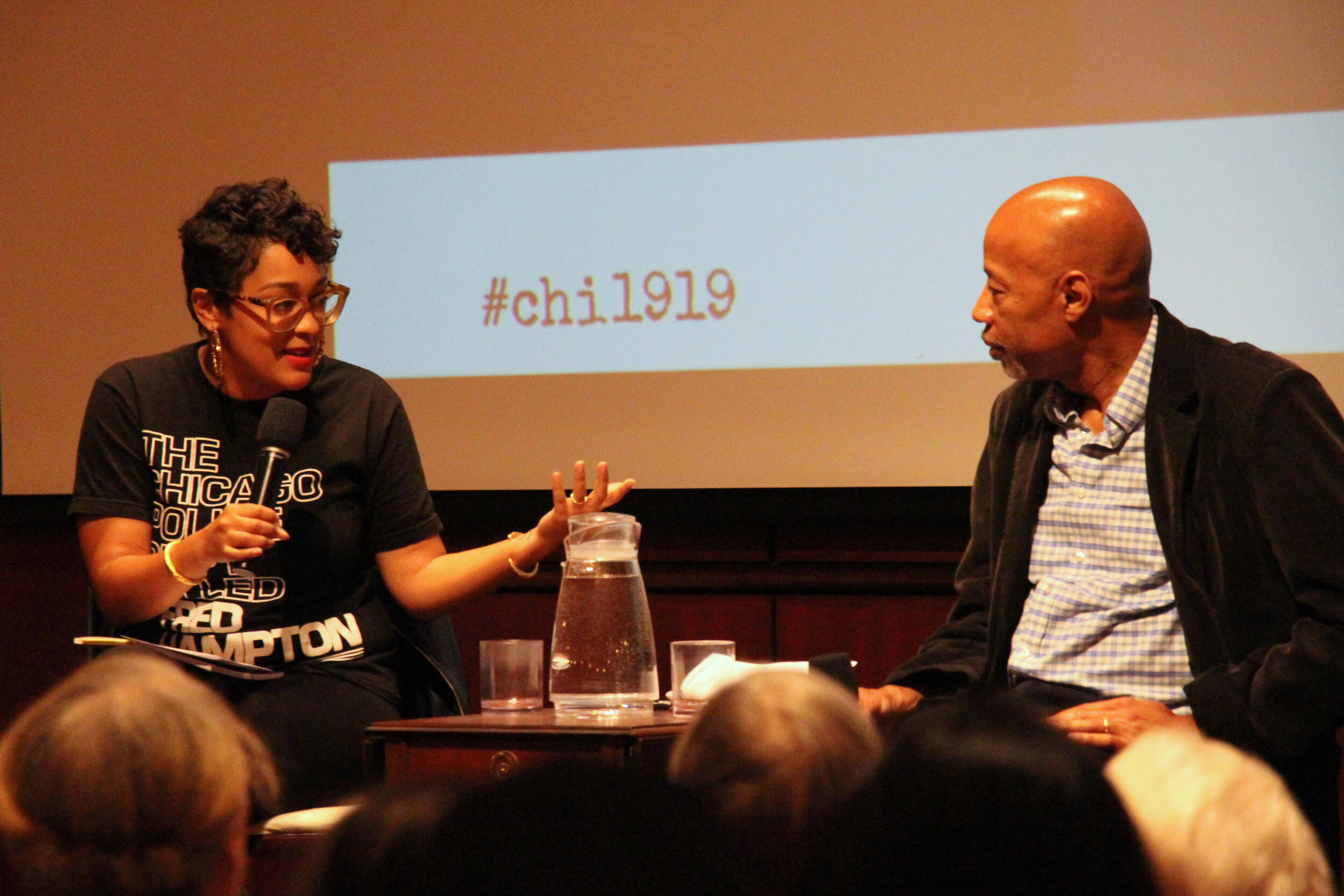 Eve Ewing (left) and Kenneth Warren (right) in conversation about Ewing's identity as poet, comic writer and professor.