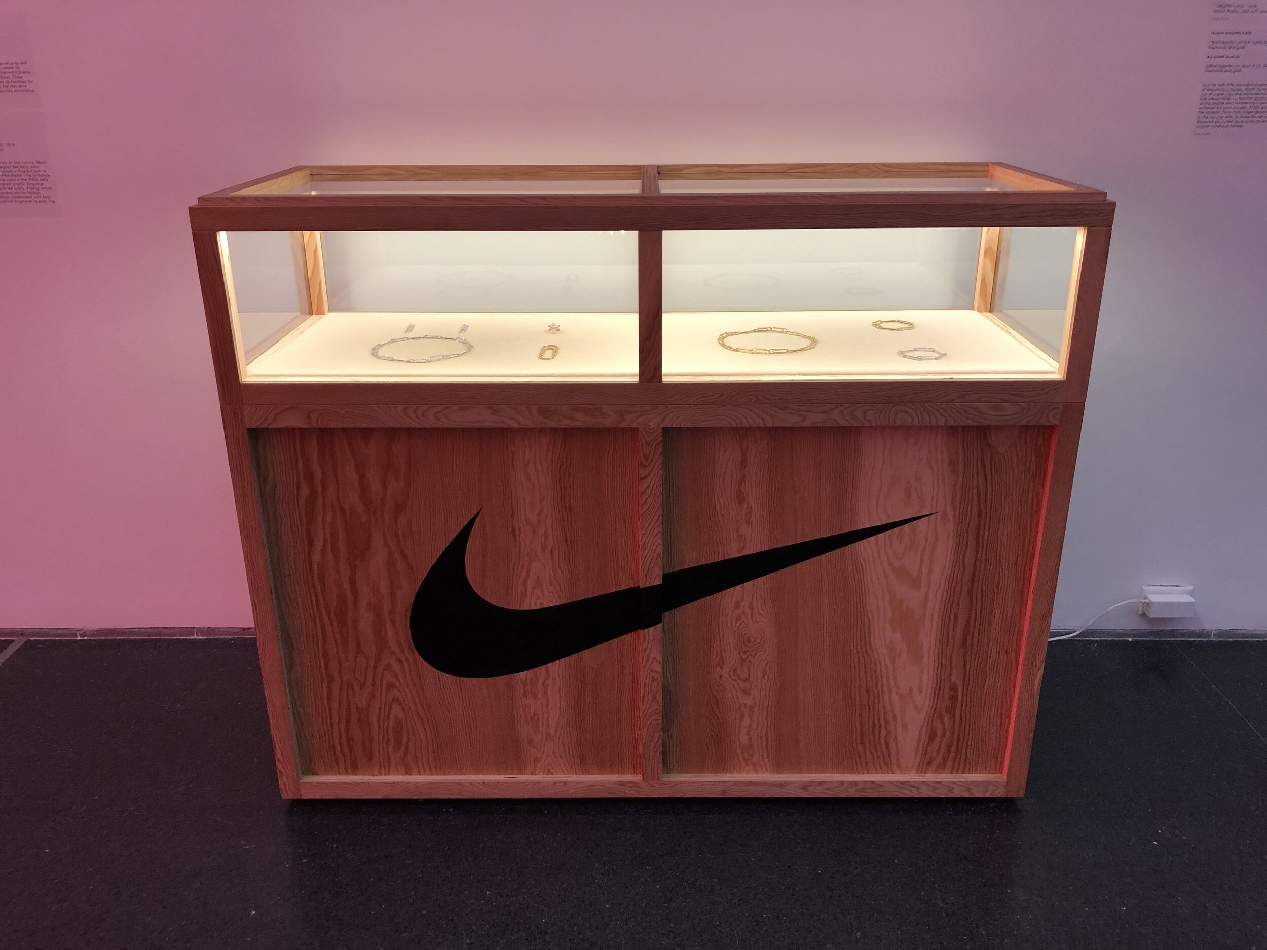 A Nike box with diamond embedded paperclip jewelry inside. Virgil wore one of the bracelets to the 2017 Urban Luxe Brand The British Fashion Awards in London, UK.