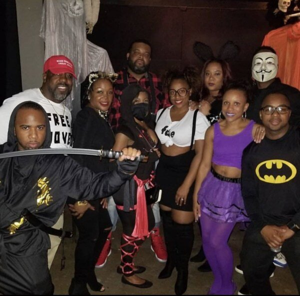 Chavon Harris and friends at one of their Halloween parties.