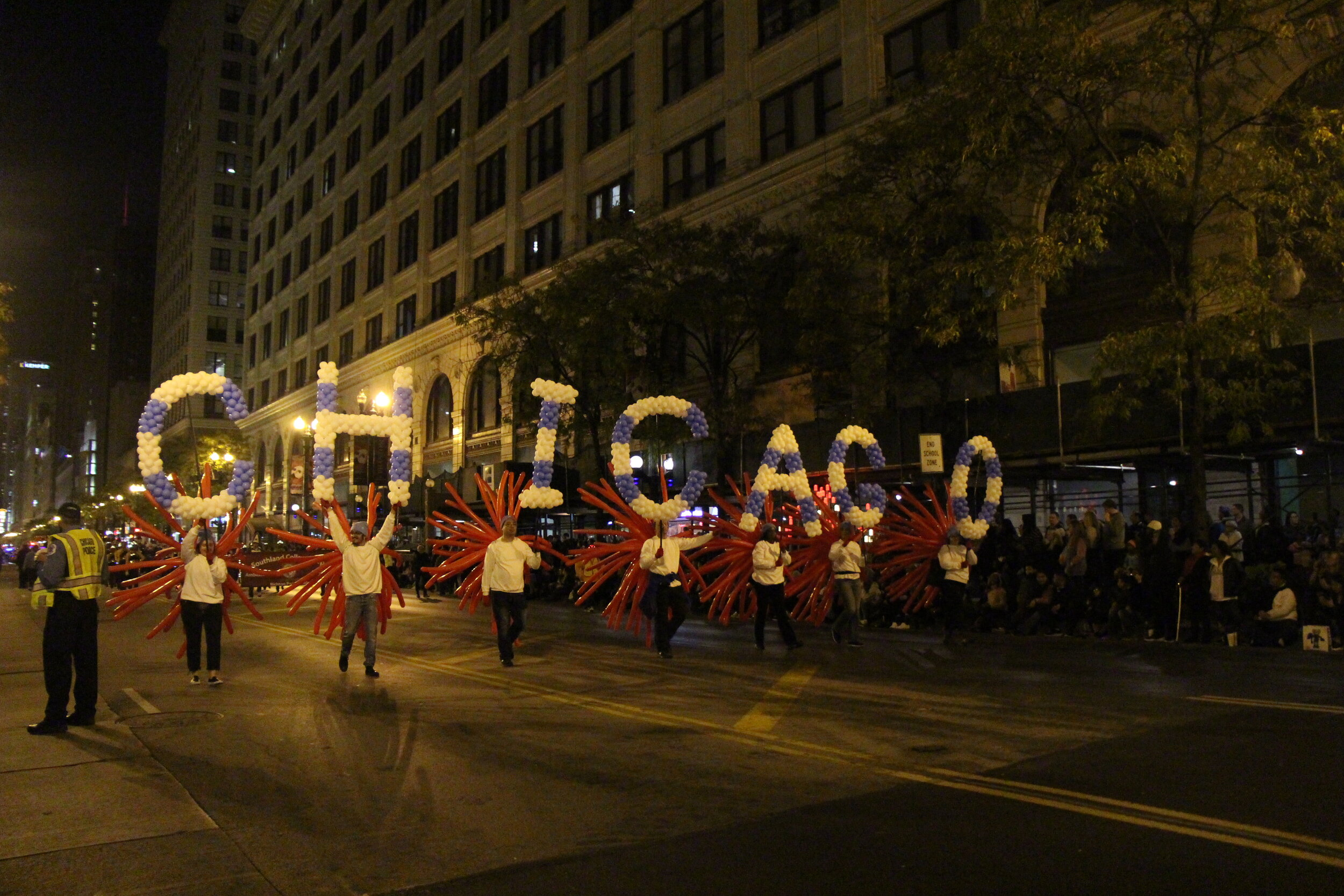 Chicago representing itself at the Art in the Dark parade that was held at Downtown Chicago, on State and street.