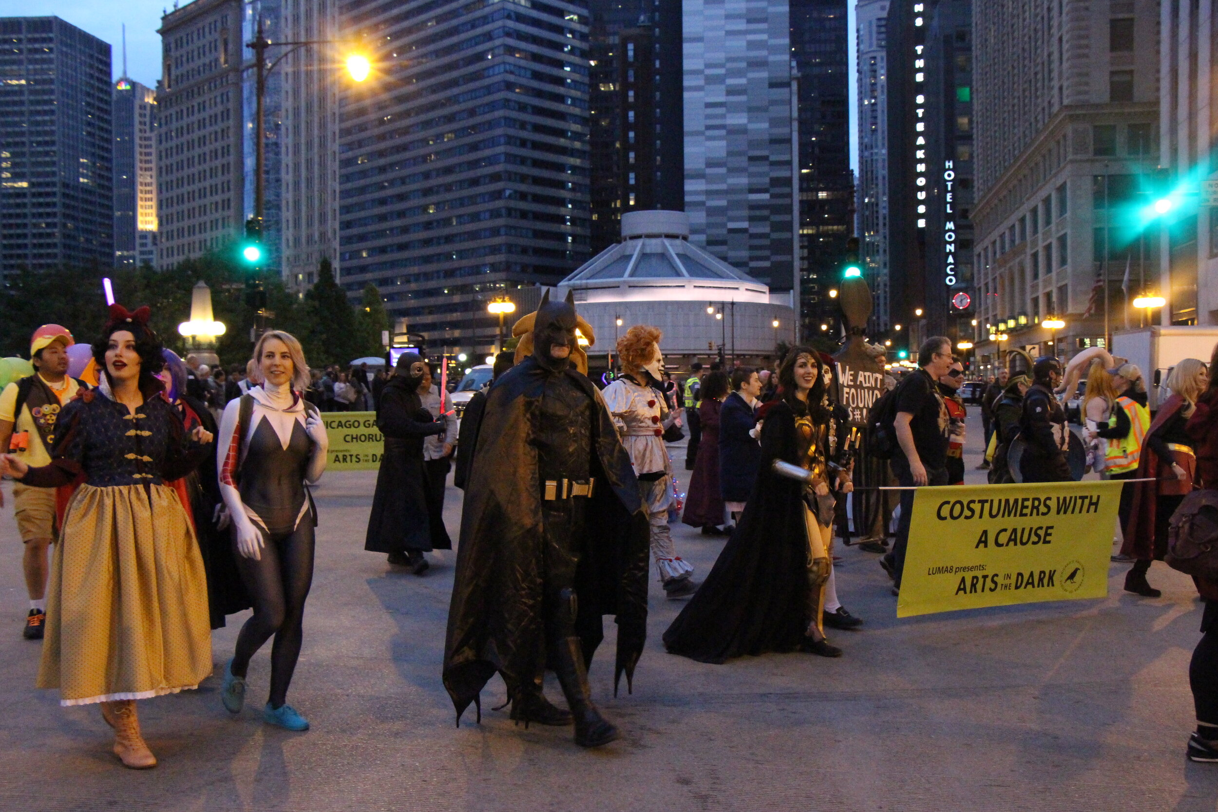 'Costumers with a cause' marching with there banner