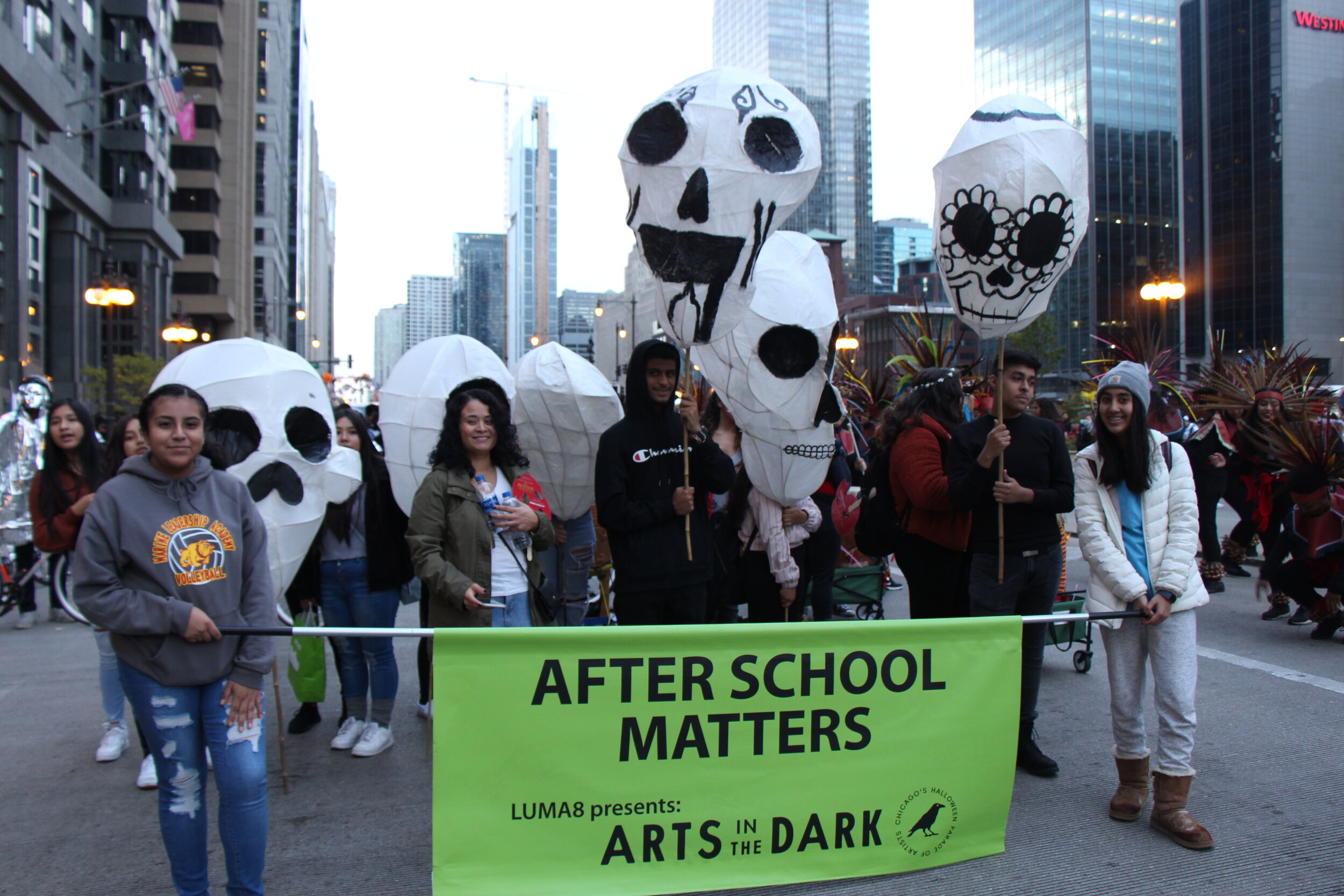 After School Matters getting ready for their third year of the Art in the Dark parade