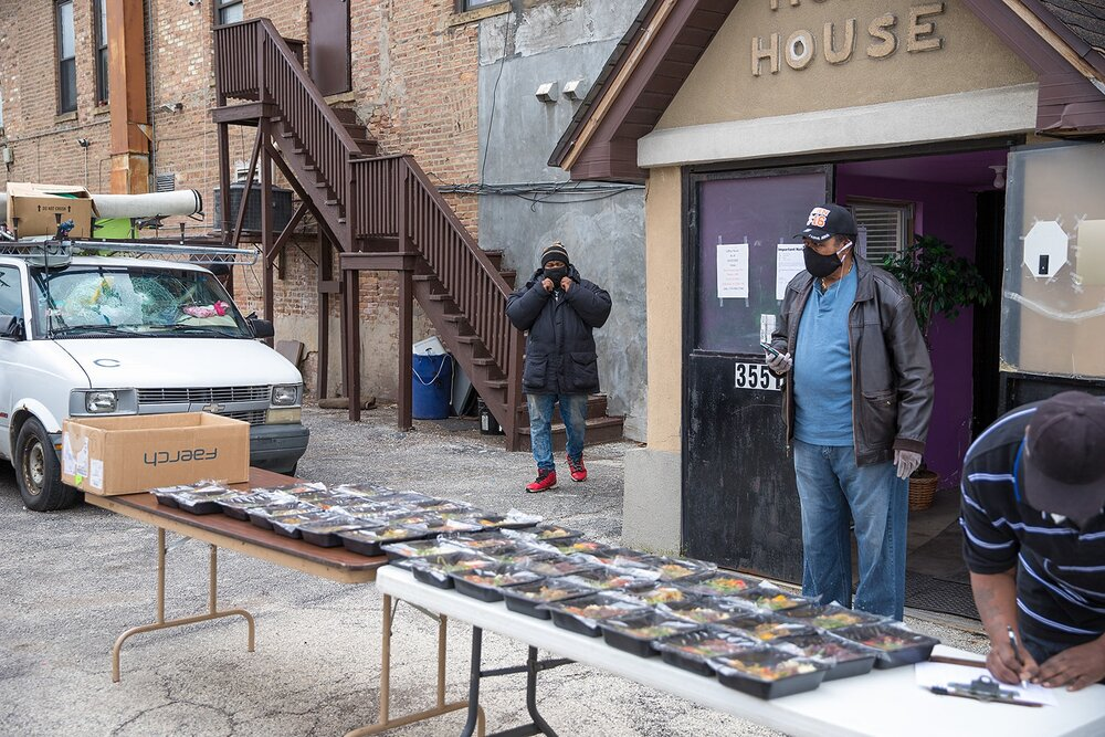 ChiFresh Kitchen sets up at the Hope House, where they distributed their first batch of meals mid-shutdown (Source: ChiFresh Kitchen Facebook)