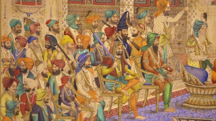 Detail of miniature depicting Maharaja Ranjit Singh's Court