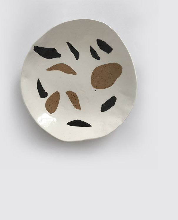 Matisse Plate / $75 White, speckled buff & black clay with clear glaze