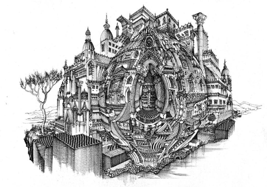 The Baroque Balcony , Tribute to MC.Escher, 42x 29,7cm , Feutre Technique sur papier .png